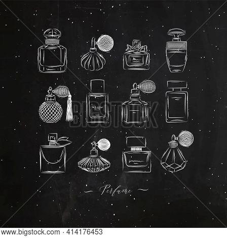 Perfume Bottles For Fragrance Set Drawing In Vintage Style On Black Background