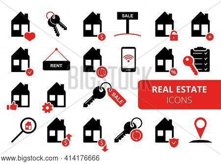 Set Of Real Estate Icons. Simple Vector Icons For Real Estate Business. Sale, Rent, Mortgage Propert