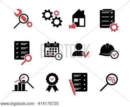 Inspection Silhouette Icons Set. Black Icons For Quality Control, Testing, Inspect, Check, Verify, E