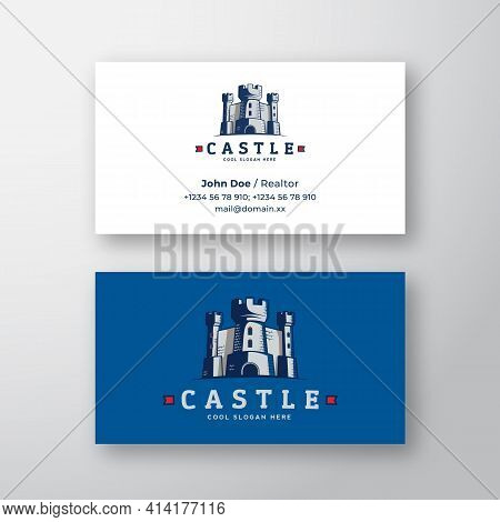 Abstract Vector Castle Logo And Business Card Template. Fortress Symbol. Kingdom Icon. Tower Silhoue