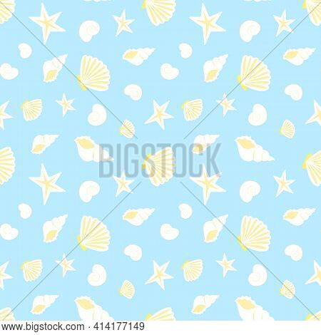 Summer Sea Seamless Pattern Of Seashells. Blue Pattern With Yellow White Seashells, Seamless Texture