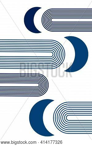 Simple Abstract Poster With Boho Arches, With Moons And Crescent, In Cold Winter Blue Colors, For In