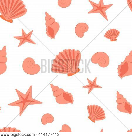 Summer Sea Seamless Pattern Of Seashells. Seashell Pattern, Sea Coast Simple Seamless Texture Or Bac