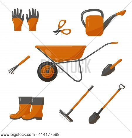 Gardening Groundworks Tools. Vector Illustration Isolated On A White Background