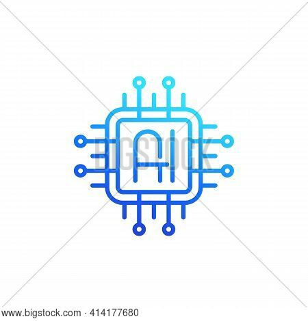 Ai Chipset Logo, Artificial Intelligence Line Icon