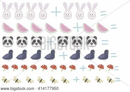 Bright Cute Childrens Educational Game Math Problem Addition With Birds Hare Panda Watermelon