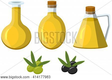Set Of Olive Oil Bottles And Olives In Cartoon Style. For Mediterranean, Italian, Greek Food Design.