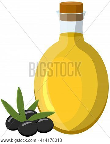 Olive Oil Bottle And Black Olives. Vector Illustration In Cartoon Style. For Mediterranean, Italian