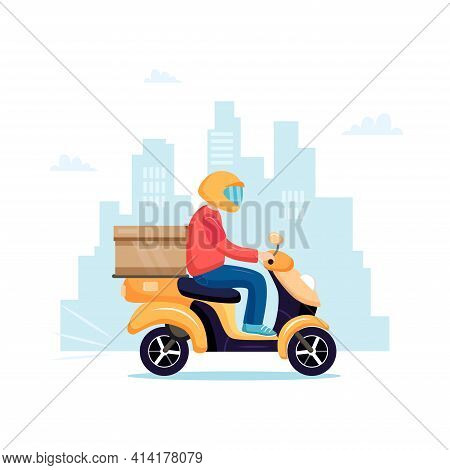 Scooter Delivery. Delivery Service With Scooter Motorcycle And Cardboard Boxes On City Background. D