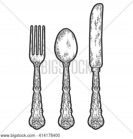 Vintage Cutlery Set. Fork, Spoon And Knife. Sketch Scratch Board Imitation.