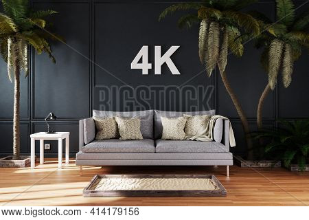 Elegant Living Room Interior With Vintage Sofa Between Large Palm Trees; 4k Concept Immersive Entert