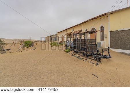 Namib Desert, Namibia - January 8.2021: German Kolmanskop - Kolmannskuppe Ghost Town In Namibia With