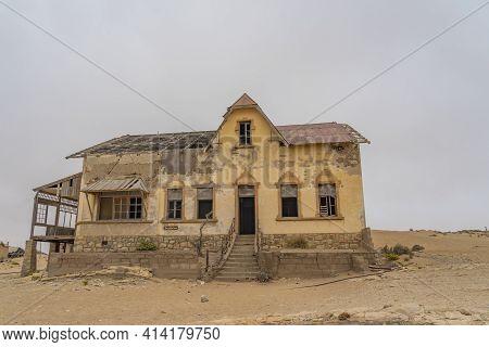 Kolmanskop. Namibia  - January 8.2021: The Buchhalter House At German Kolmanskop - Kolmannskuppe Gho