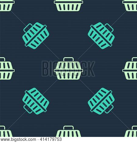 Green And Beige Pet Carry Case Icon Isolated Seamless Pattern On Blue Background. Carrier For Animal