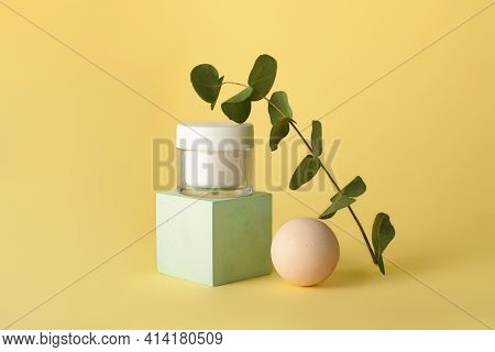 Skin Care Packaging With Creme,staying On The Geometrical Podium.dried Eucalyptus Branch Near It.pas