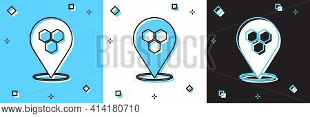 Set Honeycomb Bee Location Map Pin Pointer Icon Isolated On Blue And White, Black Background. Farm A