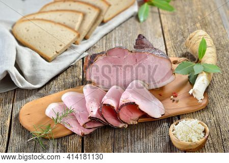 Bavarian Smoked Country Ham With Freshly Grated Horseradish And Hearty Farmhouse Bread