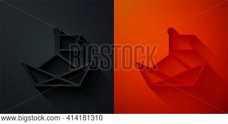 Paper Cut Folded Paper Boat Icon Isolated On Black And Red Background. Origami Paper Ship. Paper Art
