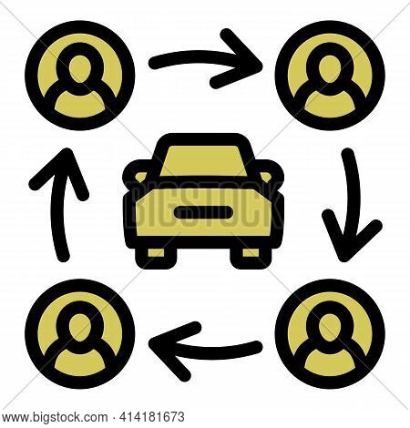 People Car Sharing Icon. Outline People Car Sharing Vector Icon For Web Design Isolated On White Bac