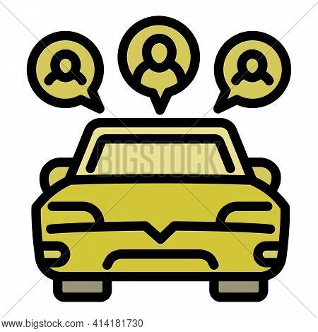 Rent Car Sharing Icon. Outline Rent Car Sharing Vector Icon For Web Design Isolated On White Backgro