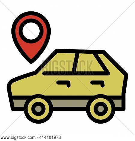 Location Car Sharing Icon. Outline Location Car Sharing Vector Icon For Web Design Isolated On White