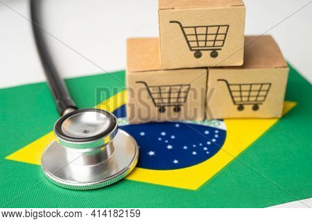 Shopping Cart Logo With Brazil Flag, Shopping Online Import Export Ecommerce Finance Business Concep