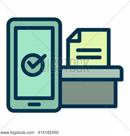 Electronic Online Vote Icon. Outline Electronic Online Vote Vector Icon For Web Design Isolated On W