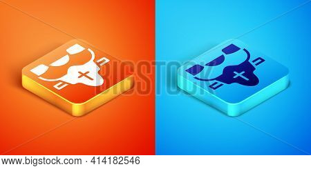 Isometric American Football Player Chest Protector Icon Isolated On Orange And Blue Background. Shou