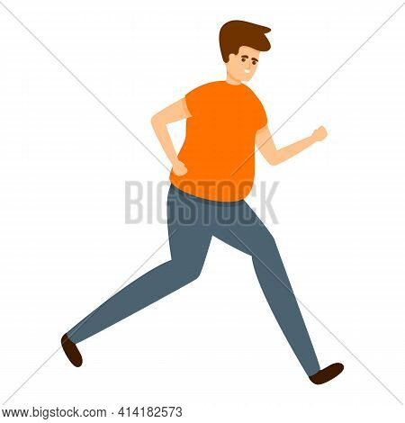 Obese Running Boy Icon. Cartoon Of Obese Running Boy Vector Icon For Web Design Isolated On White Ba
