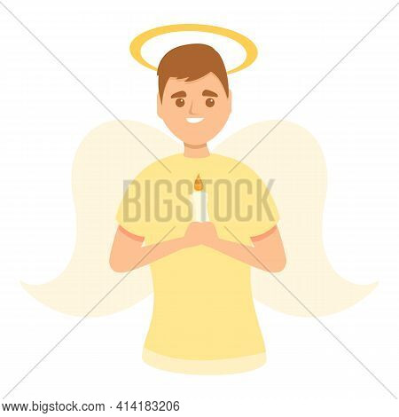 Holy Angel Icon. Cartoon Of Holy Angel Vector Icon For Web Design Isolated On White Background