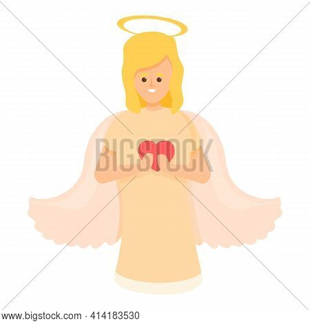 Love Angel Icon. Cartoon Of Love Angel Vector Icon For Web Design Isolated On White Background