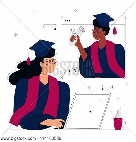 A Virtual Graduation Ceremony. Graduates Celebrate During Coronavirus Quarantine. A Girl In Gown And