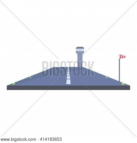 Airport Runway Icon. Cartoon Of Airport Runway Vector Icon For Web Design Isolated On White Backgrou