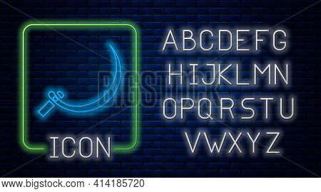 Glowing Neon Sickle Icon Isolated On Brick Wall Background. Reaping Hook Sign. Neon Light Alphabet.