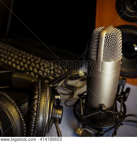 Studio Microphone, Headphones, Speakers And Computer. Home Studio Recording For Sound Mixing, Sound