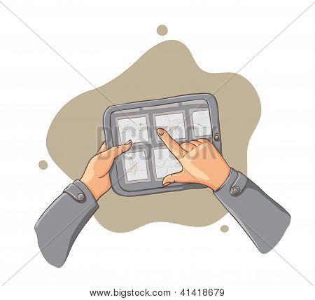 tablet pc in hands - vector illustration