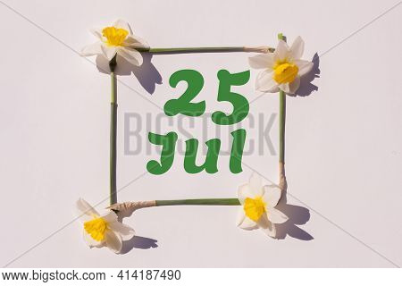 July 25th. Day 25 Of The Month, Calendar Date. Frame From Flowers Of A Narcissus On A Light Backgrou