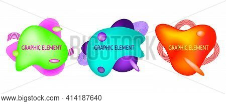 Set Of Abstract Flowing Liquid Geometric Shapes In Vivid Bright Color Gradient. Fluid Design Element