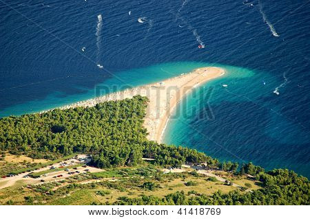 Golden Cape on Brac island in Croatia - view from Vidova Gora poster