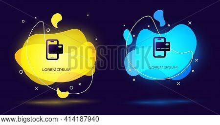 Black Mobile Banking Icon Isolated On Black Background. Transfer Money Through Mobile Banking On The