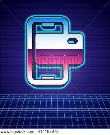 Retro Style Mobile Banking Icon Isolated Futuristic Landscape Background. Transfer Money Through Mob