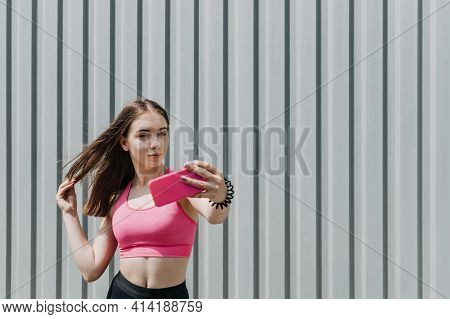 Fitness For Female Beginners, Woman Fitness, Physical Activity For Teenagers. Young Sporty Girl Do S