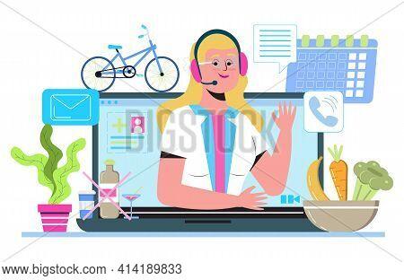 Dietologist Online Consultation. Diet Plan Concept Vector. Nutrition Diet, Weight-management. Organi
