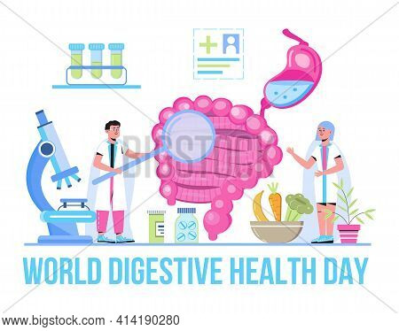 World Digestive Day Is Celebrated In 29 May. Intestine Probiotic Bacteria, Lactobacillus Info-graphi