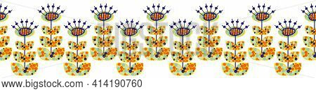 Boho Dandelion Seeds Seamless Border. Modern Colorful Banner With Naive Doodle Folk Art Style Herbac