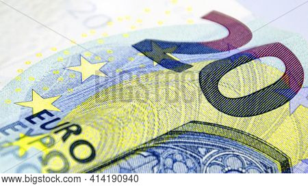 Detail Of The 20 Euro Banknote. European Monetary Currency. Cash Money And Savings