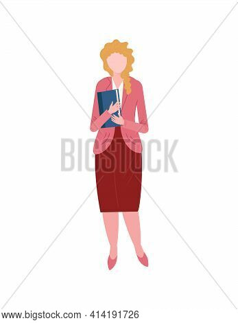 Standing Woman In Casual Clothes Isolated. Businesswoman In Skirt, Shirt And Jacket. Teacher With Bo