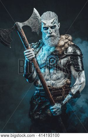 Staring At Camera Northern Undead Warrior In Frosty Fog