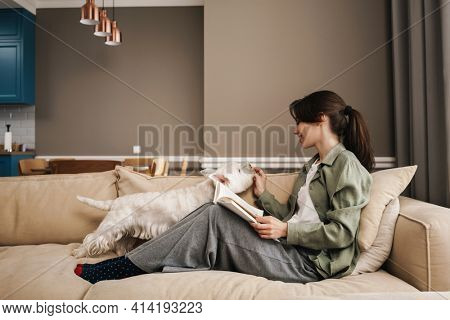 Happy white woman reading book while resting with her dog on sofa at home