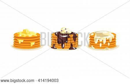 Pile Of Sweet Pancakes Poured With Melting Butter, Chocolate And Sour Cream On The Top Vector Set